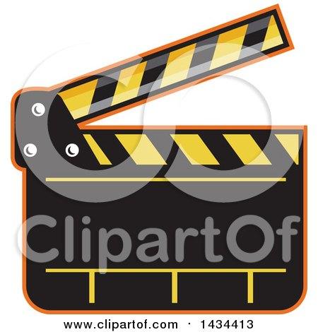 Clipart of a Retro Clapper Board - Royalty Free Vector Illustration by patrimonio