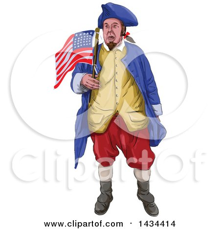 Clipart of a Watrcolor American Patriot Shouting and Holding an American Flag - Royalty Free Vector Illustration by patrimonio