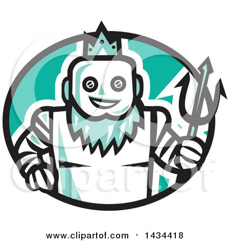 Clipart of a Retro Robotic Poseidon Holding a Trident in a Black White and Turquoise Oval - Royalty Free Vector Illustration by patrimonio
