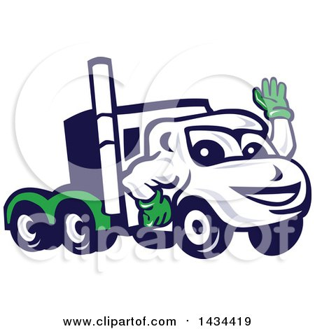 Clipart of a Retro Cartoon Big Rig Truck Mascot Waving - Royalty Free Vector Illustration by patrimonio