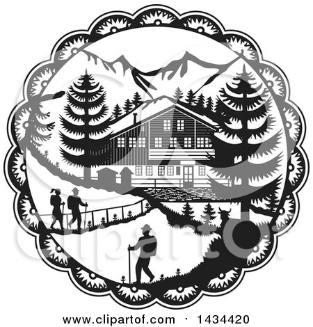 Clipart of a Retro Black and White Swiss Decoupage Style Chalet in the Alps - Royalty Free Vector Illustration by patrimonio