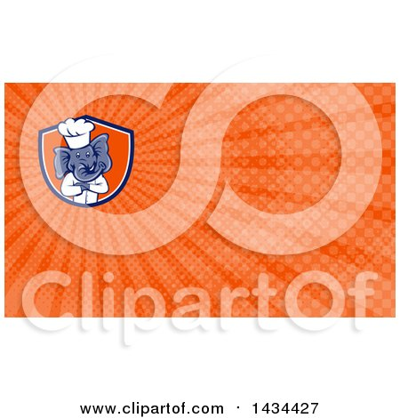 Clipart of a Cartoon Elephant Chef Man Standing with Folded Arms and Orange Rays Background or Business Card Design - Royalty Free Illustration by patrimonio
