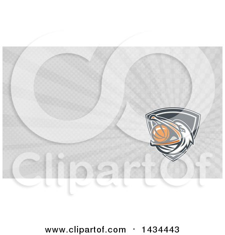 Clipart of a Retro Pelican Bird Holding a Basketball in His Beak and Gray Rays Background or Business Card Design - Royalty Free Illustration by patrimonio
