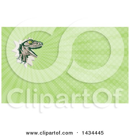 Clipart of a Retro Lizard, Rator or Tyrannosaurus Rex Slashing Through and Green Rays Background or Business Card Design - Royalty Free Illustration by patrimonio