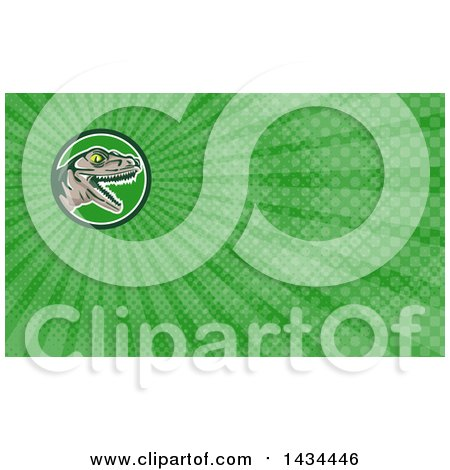 Clipart of a Retro Lizard, Rator or Tyrannosaurus Rex Head and Green Rays Background or Business Card Design - Royalty Free Illustration by patrimonio