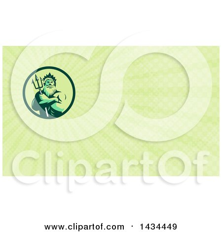 Retro Man, Triton Mythological God, Holding a Trident in Folded Arms and Green Rays Background or Business Card Design Posters, Art Prints