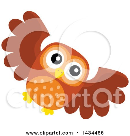 Clipart of a Flying Owl - Royalty Free Vector Illustration by visekart