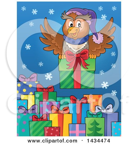 Clipart of a Festive Owl Flying with a Christmas Gift over Presents - Royalty Free Vector Illustration by visekart