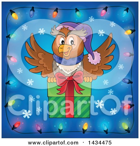 Clipart of a Festive Owl Flying with a Christmas Gift in a Border of Lights - Royalty Free Vector Illustration by visekart