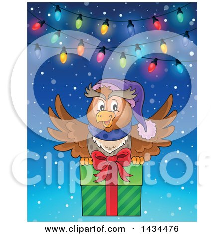 Clipart of a Festive Owl Flying with a Christmas Gift Under Lights - Royalty Free Vector Illustration by visekart