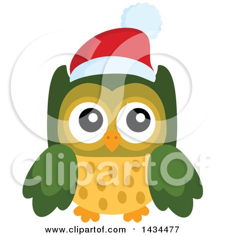Clipart of a Christmas Owl - Royalty Free Vector Illustration by visekart