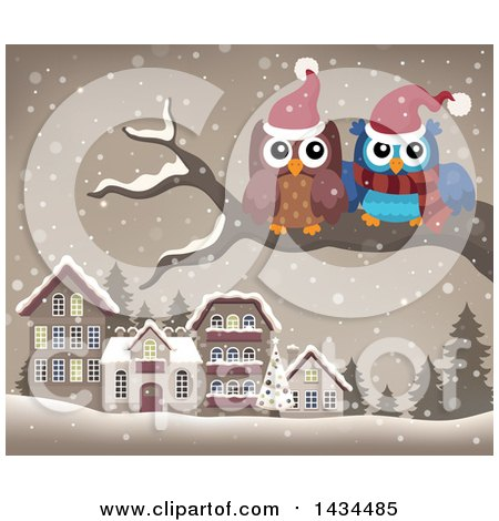 Clipart of Christmas Owls on a Branch over a Village - Royalty Free Vector Illustration by visekart