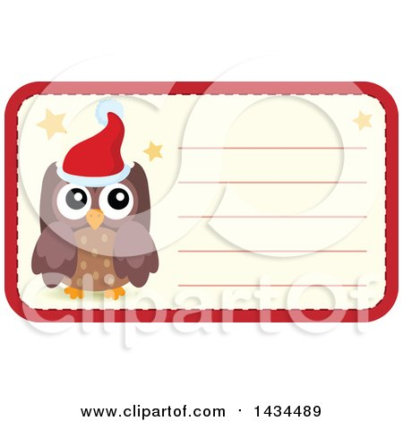 Clipart of a Christmas Owl Tag or Label - Royalty Free Vector Illustration by visekart