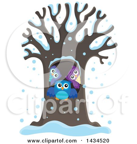 Clipart of a Family of Owls in a Tree Hollow in the Snow - Royalty Free Vector Illustration by visekart