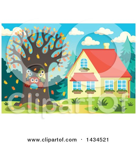 Clipart of a Family of Owls in a Tree Hollow of a Yard in the Fall - Royalty Free Vector Illustration by visekart
