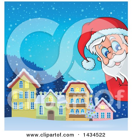 Clipart of a Winter Village and Santa Peeking Around a Corner - Royalty Free Vector Illustration by visekart