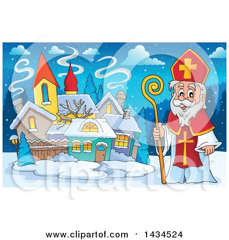 Clipart of a Saint Nicholas in a Village - Royalty Free Vector Illustration by visekart