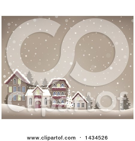 Clipart of a Christmas Tree and Village in the Snow - Royalty Free Vector Illustration by visekart