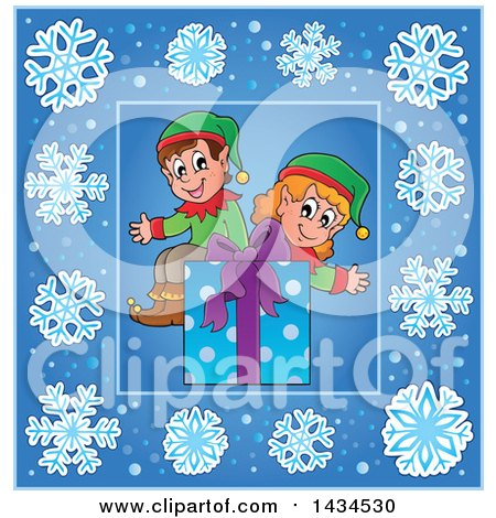 Clipart of a Christmas Gift and Elves Inside a Blue Snowflake Frame - Royalty Free Vector Illustration by visekart