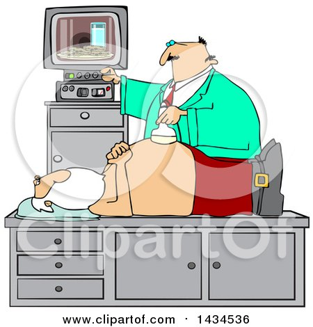 Clipart of a Doctor Giving Santa Claus an Ultrasound on His Belly and Seeing Cookies and Milk on the Screen - Royalty Free Vector Illustration by djart