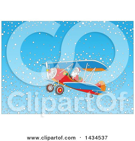 Clipart of Santa Claus Flying a Biplane in a Snowy Sky - Royalty Free Vector Illustration by Alex Bannykh