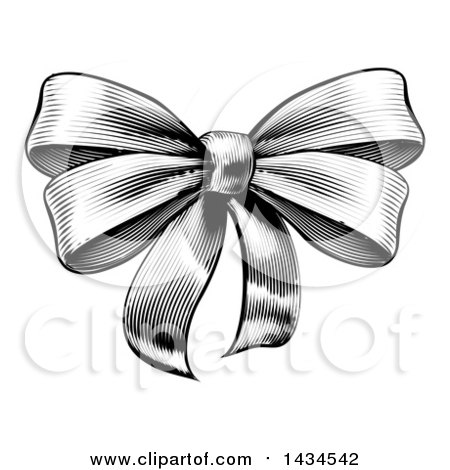 Clipart of a Black and White Vintage Woodcut or Etched Gift Bow - Royalty Free Vector Illustration by AtStockIllustration
