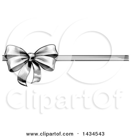 Clipart of a Black and White Vintage Woodcut or Engraved Gift Bow and Ribbon - Royalty Free Vector Illustration by AtStockIllustration
