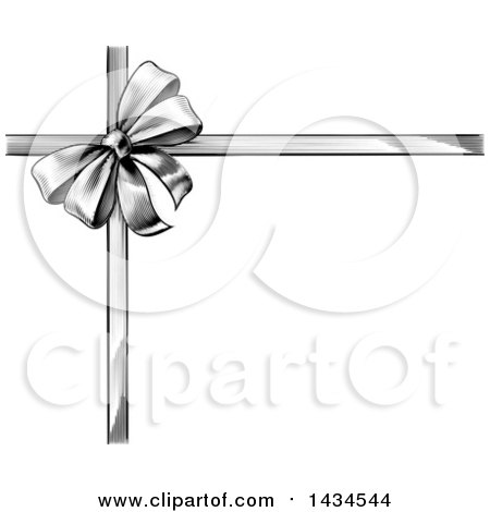 Clipart of a Black and White Vintage Woodcut or Engraved Gift Bow and Ribbons - Royalty Free Vector Illustration by AtStockIllustration