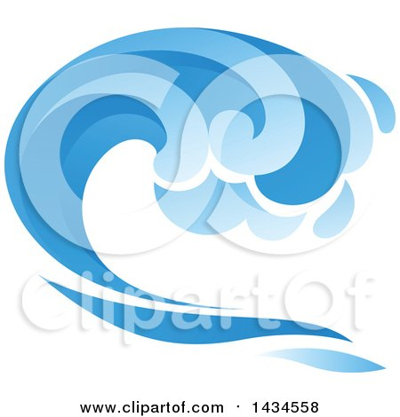 Clipart of a Blue Splash Wave - Royalty Free Vector Illustration by Vector Tradition SM