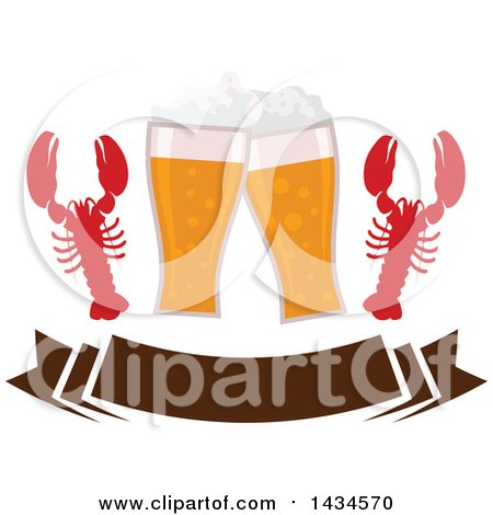 Clipart of Clinking Glasses of Beer and Lobsters over a Banner - Royalty Free Vector Illustration by Vector Tradition SM