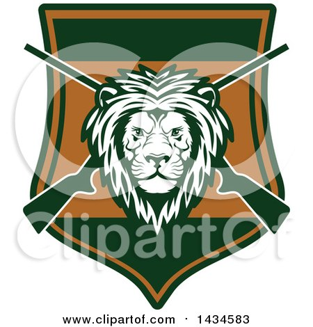 Clipart of a Male Lion Head over Crossed Hunting Rifles in a Shield - Royalty Free Vector Illustration by Vector Tradition SM