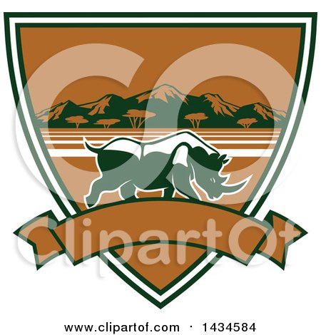 Clipart of a Big Game Rhinoceros Safari Hunting Shield with a Banner - Royalty Free Vector Illustration by Vector Tradition SM