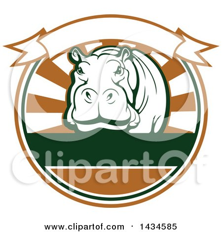 Clipart of a Big Game Hippopotamus Safari Hunting Design with a Banner - Royalty Free Vector Illustration by Vector Tradition SM