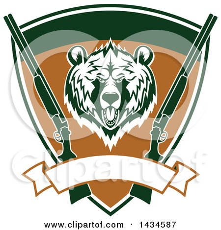 Clipart of a Grizzly Bear Head and Hunting Rifles in a Shield with a Blank Banner - Royalty Free Vector Illustration by Vector Tradition SM