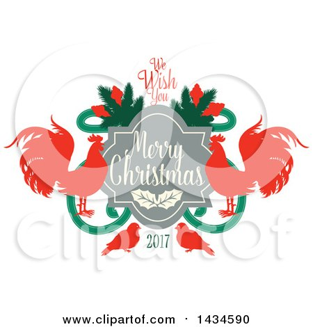Clipart of a We Wish You a Merry Christmas 2017 Greeting with Roosters - Royalty Free Vector Illustration by Vector Tradition SM