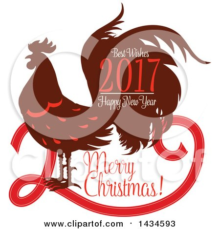 Clipart of a Merry Christmas, Best Wishes, 2017 Happy New Year Rooster Greeting - Royalty Free Vector Illustration by Vector Tradition SM