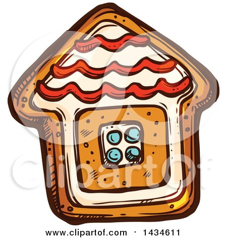 Clipart of a Sketched Gingerbread House Cookie - Royalty Free Vector Illustration by Vector Tradition SM