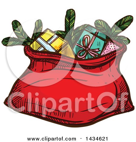 Clipart of a Sketched Santa Sack with Christmas Gifts - Royalty Free Vector Illustration by Vector Tradition SM