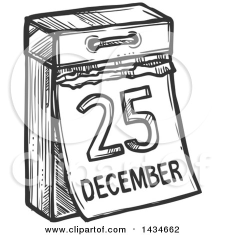 Clipart of a Sketched Dark Gray December 25 Christmas ...