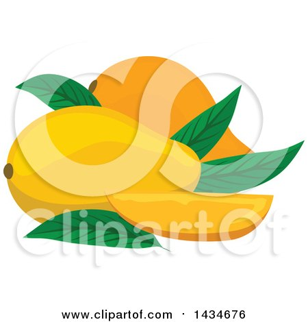 Clipart of Tropical Exotic Mango Fruit - Royalty Free Vector Illustration by Vector Tradition SM