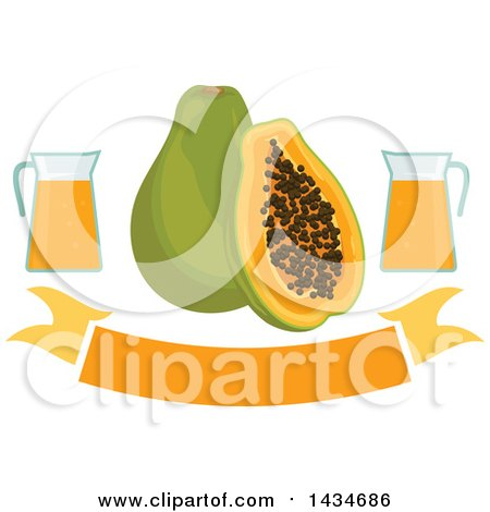 Clipart of a Blank Banner with Tropical Exotic Papaya Fruit and Juice - Royalty Free Vector Illustration by Vector Tradition SM