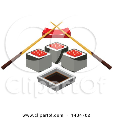 Clipart of a Sushi Roll with Red Caviar, Soy Sauce and Chopsticks on a Rest - Royalty Free Vector Illustration by Vector Tradition SM
