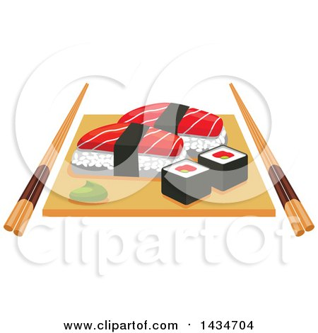 Clipart of Sushi Rolls and Salmon Nigiri Sushi and Wasabi on Wooden Platter with Chopsticks - Royalty Free Vector Illustration by Vector Tradition SM