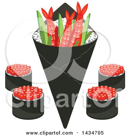 Clipart of Japanese Sushi Rolls, Shrimps and Rice in Seaweed Nori - Royalty Free Vector Illustration by Vector Tradition SM