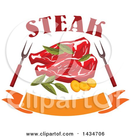 Clipart of Beef Steaks with Herbs, Bbq Forks, Text and a Banner - Royalty Free Vector Illustration by Vector Tradition SM