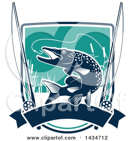 Clipart of a Pike Fish Leaping to Bite a Hook with Reels and a Banner over a Shield - Royalty Free Vector Illustration by Vector Tradition SM