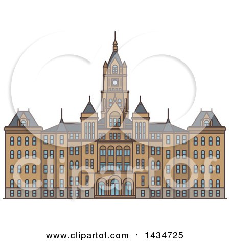 Clipart of a Line Drawing Styled American Landmark, Salt Lake City and County Building - Royalty Free Vector Illustration by Vector Tradition SM