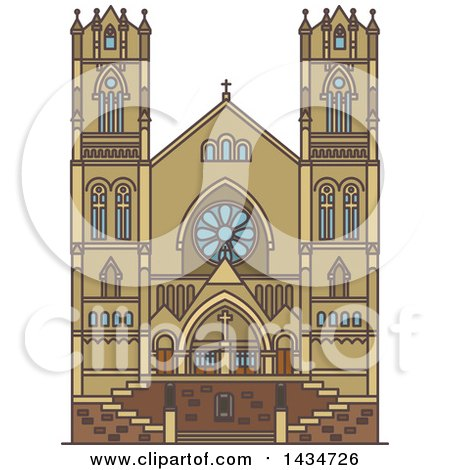 Clipart of a Line Drawing Styled American Landmark, Cathedral of the Madeleine - Royalty Free Vector Illustration by Vector Tradition SM