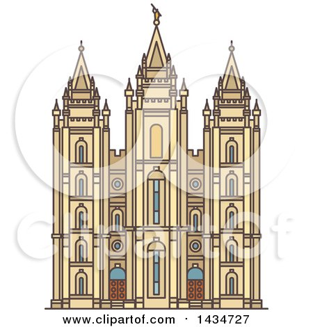 Clipart Of A Line Drawing Styled American Landmark Salt Lake Temple