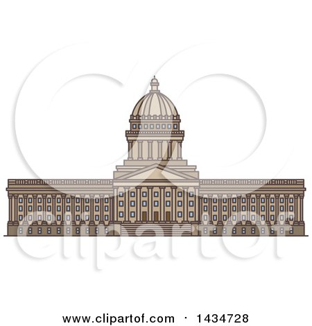 Clipart of a Line Drawing Styled American Landmark, Utah State Capitol - Royalty Free Vector Illustration by Vector Tradition SM